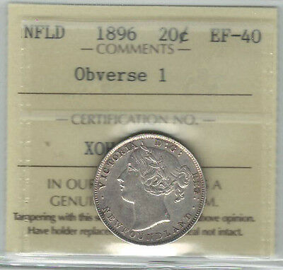 Canada Newfoundland NFLD 1896 20 Cents ICCS EF40; Obverse 1 (XOH 919)