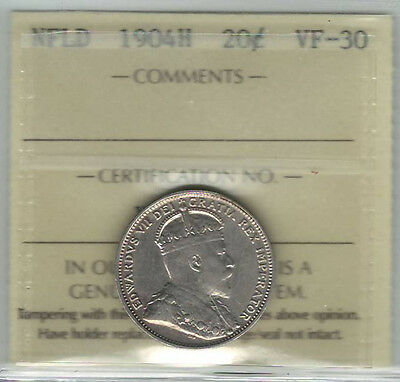 Canada Newfoundland NFLD 1904H 20 Cents ICCS VF30 (XOH 921)