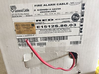 CAROL 16/2 Fire Alarm Audio Wire Cable 2 Conductor 16 AWG FPLR Riser  Red 1000ft
