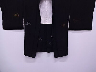 Vintage Japanese Kimono / Antique Haori / Woven Leaves & Plants / Silk, Black