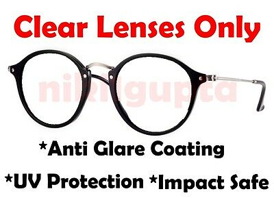 Prescription CLEAR RB 2447 Round Fleck Replacement Lenses Anti Glare 49mm New