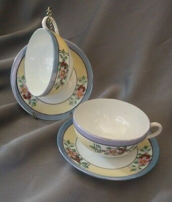 China Tea Cup And Saucer (2) Set Lusterware Floral Flower Gold Trim Japan