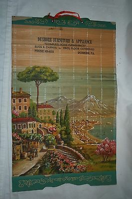 Vtg DUSHORE Furniture and Appliance PA Bamboo Advertising Calendar top