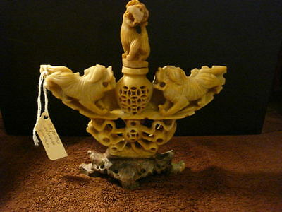 Antique Chinese Master Hand Carved Foo Dogs Soapstone Incense Burner