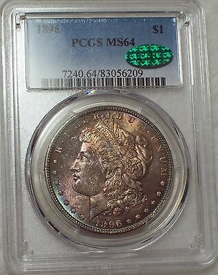 1896 PCGS MS 64 CAC STICKER SILVER Morgan Dollar Gorgeous RAINBOW Toned $1 Coin