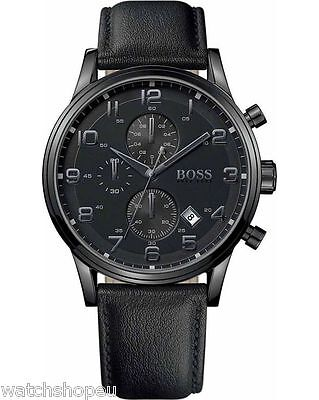 New Hugo Boss 1512567 Mens Black Aeroliner Chronograph Watch - 2 Year Warranty