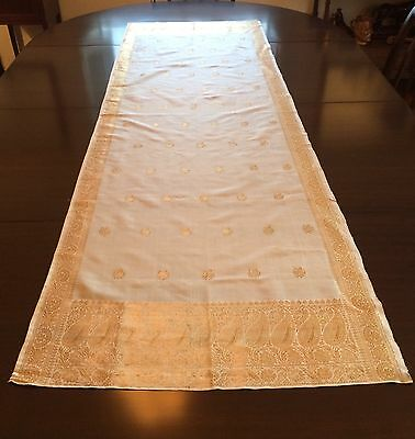 Antique Gold Embroidered Silk Table Runner Cloth