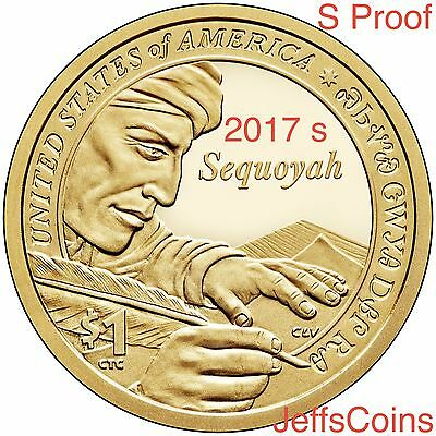 2017 S SACAGAWEA NATIVE AMERICAN Sequoyah from Cherokee Nation Proof Dollar New
