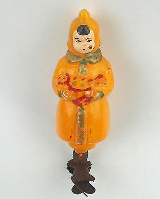 RARE Vintage Russian USSR Painted Glass Christmas Tree Ornament Boy with Candy