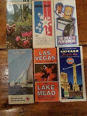Lot of 6 six VINTAGE Gas Station ROAD Maps Las Vegas FL Gulf Philips 66 western