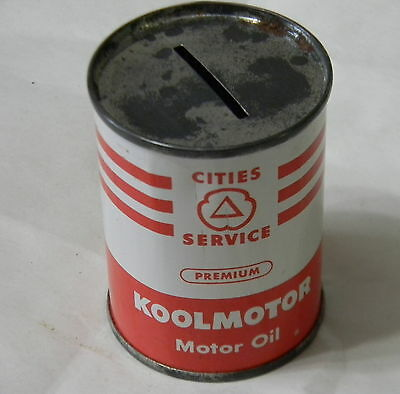 Early CITIES SERVICE KOOLMOTOR MOTOR OIL CAN BANK - 4 OZ. SIZE
