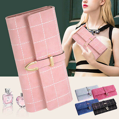 Womens Long Grid Buckle Leather Handbag Card Holder Purse Wallet Lady Clutch Bag