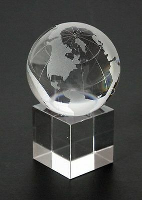 World Globe on Stand Laser 50mm Crystal 24% Full Lead - Boxed (Post or Local)