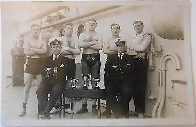 Vintage RP Postcard Royal Navy Military Officer Trophy Award Competition Ship