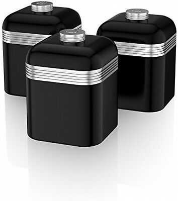 Set of 3 Retro Canisters Tea Coffee Sugar Storage Containers Kitchen Black Swan