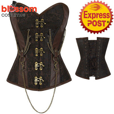 CC80 Steampunk Boned Brocade Corset Brown PU Leather Gothic Halloween Costume
