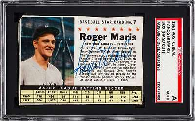 Roger Maris Signed Autographed 1961 Post Cereal Card SGC Auth