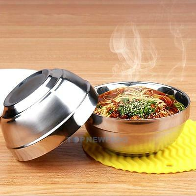 Family Tableware Round Double Layer Stainless Steel Rice Bowl Child Anti-Hot