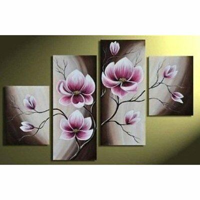 Hand-painted Wood Framed Beautiful Purple Flower High Q. Home Decoration Modern