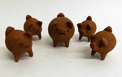 Artisan Handcrafted Clay 3 Legged Pigs Figurines Mama & Piglets Set Of 5 New