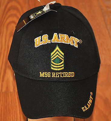 New Black US Army MSG Master Sergeant Retired Hat Ball Cap Veteran E-8 Licensed