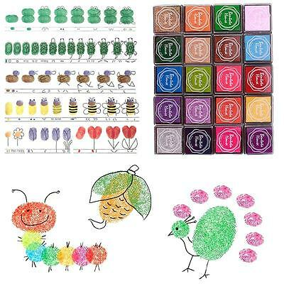 Best Sale 20 Colors Rainbow DIY Craft Finger Ink pads Rubber Stamps Card Making