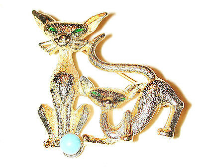 Vintage Siamese Kitty Cat Kitten Turquoise Pearl Pin Brushed Gilded Gold Sphinx