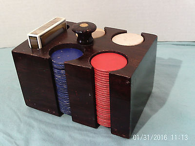 Vintage Poker Paper Chips In Wooden Caddy Holder w Finial