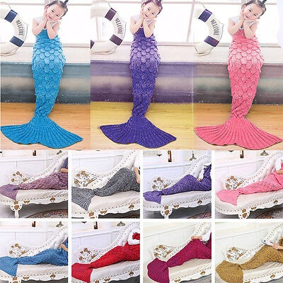 Kid Adult Mermaid Tail Blanket Knitted Sofa Wrap Snuggle-in Sleeping Bag Costume