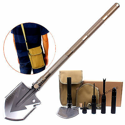 Protable Folding Shovel Camping Hiking Exploration Survival Spade Tool With Bag