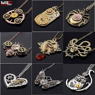 Retro Vintage Steampunk Jewelry Machinery Gear Pendant Necklace Choker Chain New