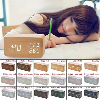 Modern Wooden Wood Digital LED Alarm Clock Voice Control Timer Thermometer Gift