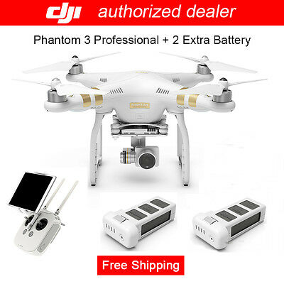 Genuine DJI Phantom 3 Professional RC Drone w/ 4K Camera + 2 Pcs Extra Battery