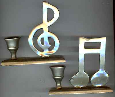Musical Symbols Brass Candle Holders