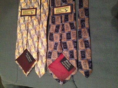 CHRISTOPHER REEVE COLLECTION 2 neck tie silk daryl hannah mandy patinkin