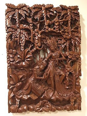 Antique Balinese Carved Wood Panel 20th c Indonesian Bali Pierced Relief