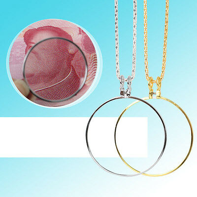 Magnifying Glass 8x Magnifier Jewelry Lens Pendant Loupe Chain Monocle Necklace