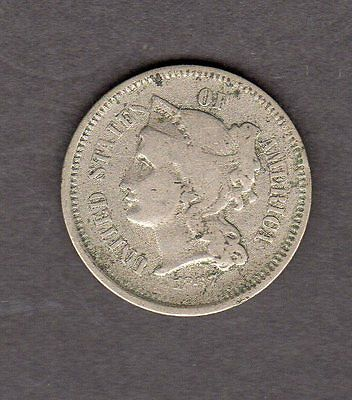 US 1867 Three Cent Nickel Coin in VG Very Good Condition