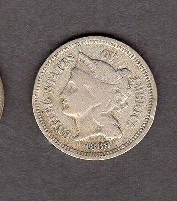 US 1869 Three Cent Nickel Coin in VG Very Good Condition!