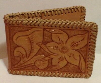 Vintage LEATHER Hand Tooled FLOWER Bifold WALLET