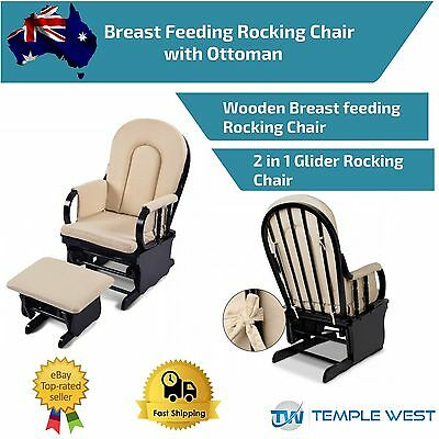 Wooden Rocking Chair Ottoman Soft Sliding Glider Baby Breast Feeding Nursery NEW