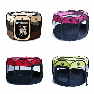 Oxford Large Pet Dog Cat Playpen Tent Portable Exercise Fence Kennel Cage Crate