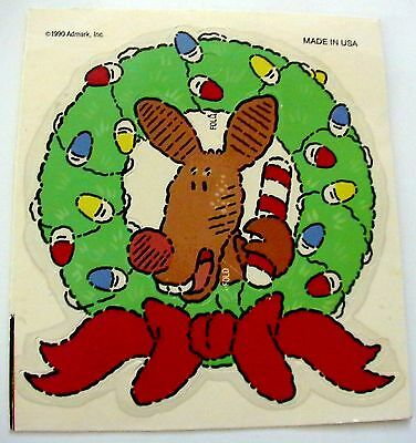 Vintage 1990 Admark Christmas Holiday Reindeer & Wreath Decoration Craft Sticker