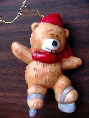Vintage Brown Ceramic Snow Teddy Bear Ice Skates Hat Old Glass Holiday Ornament