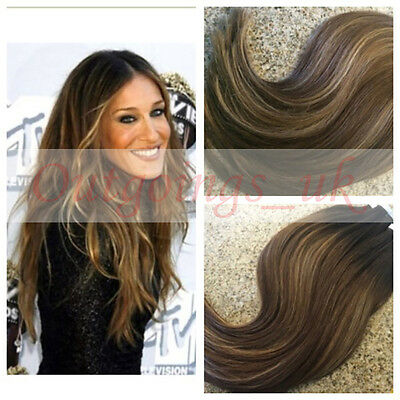 Balayage Straight Clip in Hair Brazilian Remy Human Hair Weave Ombre Dark Brown