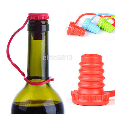 Anti-lost Silicone Bottle Stopper Cork Hanging Button Red Wine Beer Cap Plug Hot