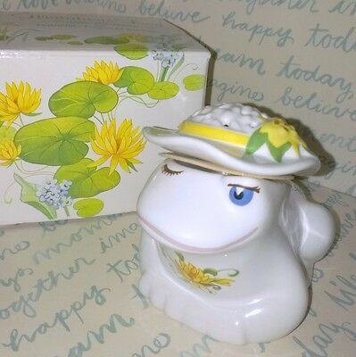 Vintage Avon Flirtatious Frog in Box Ceramic Pomander, no Wax Chips