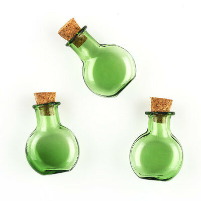 Bulk 10Pcs Small Empty Round Flat Cork Glass Wish Bottles Vials Jars Green
