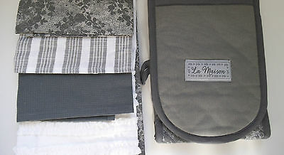 Next Set Of 4  Grey & White Cotton  Tea Towels + Double Oven Gloves Brand New