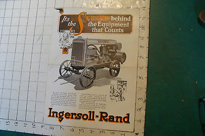 vintage 1927 INGERSOLL-RAND 8 page brochure/catalog; portable air compressor etc